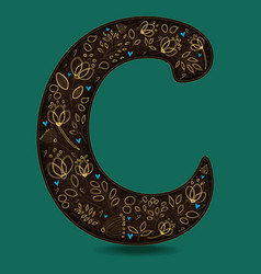 Letter c with golden floral decor vector