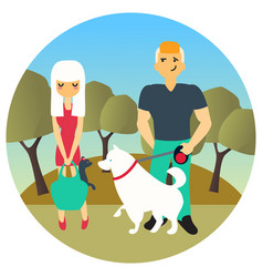 Man and woman met in a park while walking out dogs vector