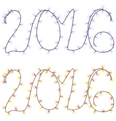 Numbers of the coming year from garlands of light vector