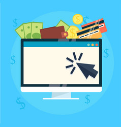 pay per click banner computer with money vector image vector image