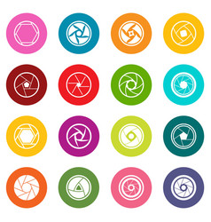 Photo diaphragm icons many colors set vector
