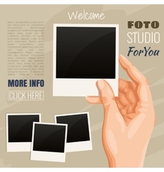 photos in hand vector image vector image