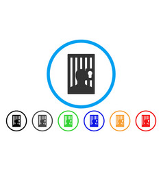 Prison locked door rounded icon vector