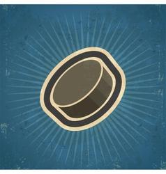 Retro hockey puck vector