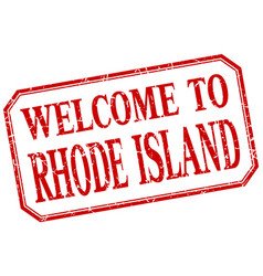 Rhode island - welcome red vintage isolated label vector