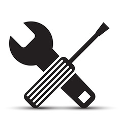 Screwdriver and wrench icons isolated on white vector