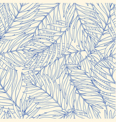 seamless pattern with contour tropical palm leaves vector image