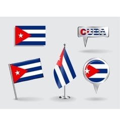Set of cuban pin icon and map pointer flags vector