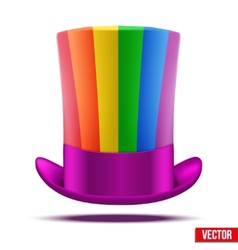 Striped of rainbow big gentleman hat cylinder vector