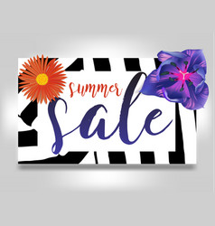 Summer sale with flowers and zebra background vector