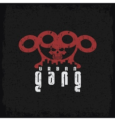 urban gang grunge emblem with brass knuckles and vector image