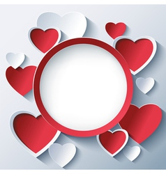 Valentines day background frame with 3d hearts vector image vector image