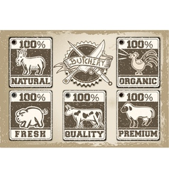 Vintage labels page for butcher shop vector