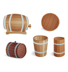 wooden barrel vintage old style oak storage vector image vector image