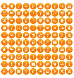 100 street festival icons set orange vector