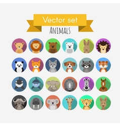 Set of flat style avatars of animals vector image