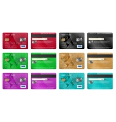 Credit cards set realistic style vector