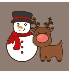 Snowman reindeer merry christmas design vector