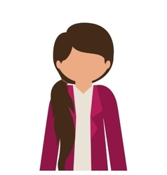 Silhouette half body girl with jacket without face vector