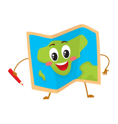 Folding geographical map funny character with a vector