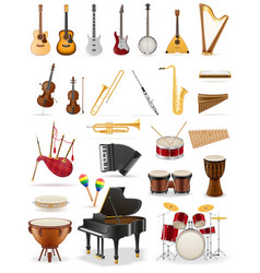 musical instruments set icons stock vector image