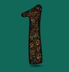 Number one with royal floral decor vector