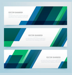 Modern geometric blue and green business style vector
