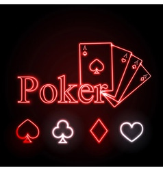 Neon sign poker vector