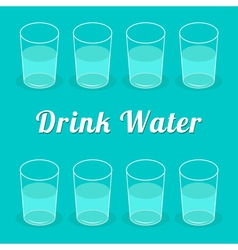 Drink more water glasses set infographic flat desi vector