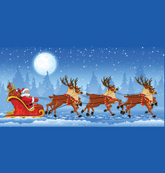 Christmas Santa Claus riding vector image