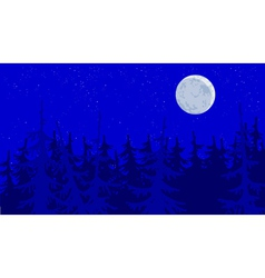 Forest blue moonlit night vector