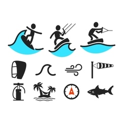 Summer water sport pictograms vector