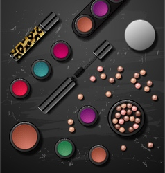 Decorative cosmetics make up accessories beauty vector