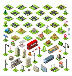City map set 01 tiles isometric vector