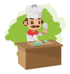 Chef cooking cartoon character split vector