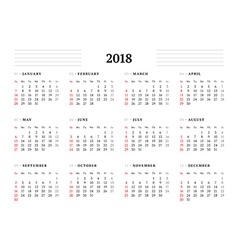 Simple calendar template for 2018 year stationery vector