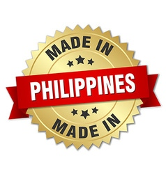 Made in philippines gold badge with red ribbon vector
