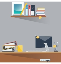 Office work place with computer and papers vector
