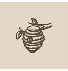 Bee hive sketch icon vector