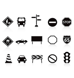 black traffic sign icons set vector image