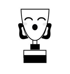 Contour kawaii cute funny prize cup vector