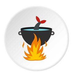 Cooking fish soup on a fire icon circle vector