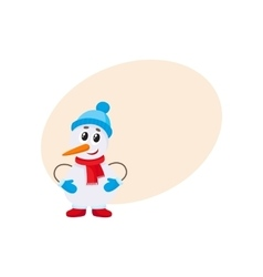 Cute and funny little snowman decorating a vector image vector image