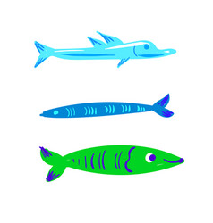Cute character fish set vector