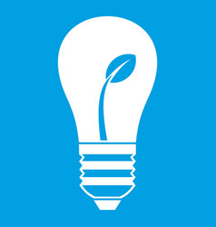 ecology idea bulb with plant icon white vector image vector image