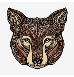 Ethnic ornamented jackal coyote wolf or dog vector