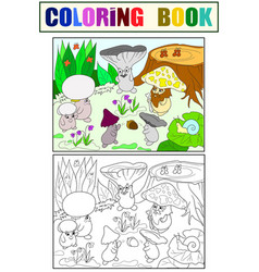 family of mushrooms in the forest coloring book vector image vector image