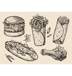 fast food Hand drawn hamburger burger pizza vector image