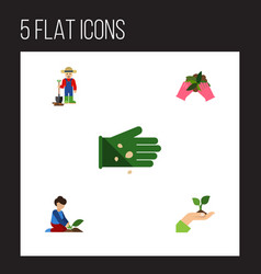 flat icon seed set of plant care man and other vector image
