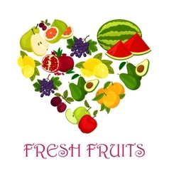 Fresh fruits symbol in shape of heart icon vector